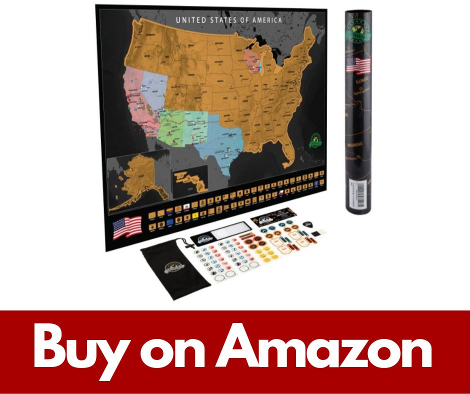 Scratch Off USA Map Poster - Travel Map with State Flags and Landmarks
